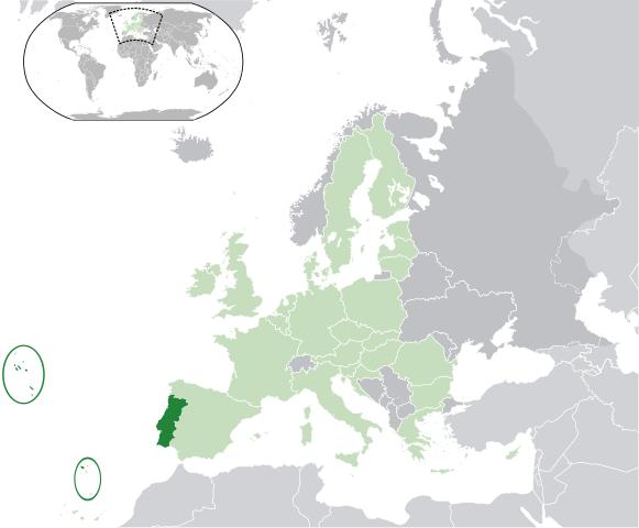Karta Portugal i Europa