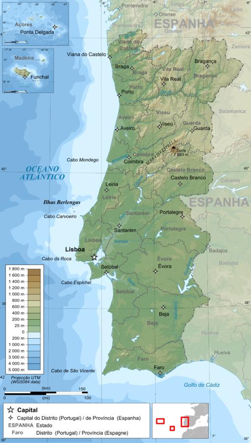Topografisk karta över Portugal
